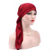 Fheaven Women India Muslim Stretch Turban Hat Cotton Hair Scarf Wrap Loss Head Cap