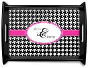 Houndstooth w/Pink Accent Black Wooden Tray - Large