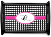 Houndstooth w/Pink Accent Black Wooden Tray - Small