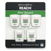 Johnson & Johnson Reach Mint Waxed Dental Floss, 5 pk./100 yds.x2 AS