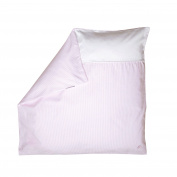 Nordic Coast Premium Baby Duvet Cover, Pink/White Stripes