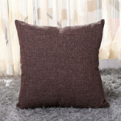 outflower Simple and Elegant Plain Pillow Case Cushion Cover Linen Canvas/Bedroom/Living Room/Office/Car (45 * 45 cm & # xFF09;, Linen, Kaffee, 45*45cm