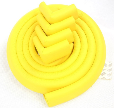 JNTworld 4m length table edge baby Guard protector +4 corner (Yellow) extra thick (13 mm) soft Non-toxic and environmentally friendly