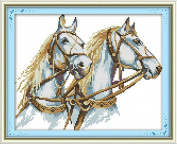Cross Stitch Embroidery Starter Kit including 14 Count 30cm x 25cm classic reserve Aida coloured threads and tools Two Horses
