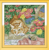 Cross Stitch Embroidery Starter Kit including 14 Count 36cm x 36cm classic reserve Aida coloured threads and tools Cat and Snail