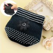 Comolife Lovely Floral Beads Crochet Lace Kit , Made in Japan , Finished Size : 9.5cm x 11cm , Black