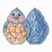 Blue Chick Beaded Counted Cross Stitch Easter Ornament Kit Mill Hill 2017 Jim Shore JS181711