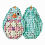 Aqua Chick Beaded Counted Cross Stitch Easter Ornament Kit Mill Hill 2017 Jim Shore JS181714