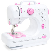 Best Choice Products 6V Compact Sewing Machine w/ 12 Preset Stitch Patterns, Built-In Sewing Light, Drawer & Foot Pedal