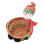 Fabal Bamboo Christmas Candy Gift Storage Basket Decoration Santa Claus Storage Basket Merry Xmas Decor