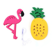 Misright Flamingo Pineapple Cactus Lighting Luau Party Garland Banner Flag Hanging Ornament Decor