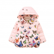 Exteren Baby Girl Cute Winter Cotton Hooded Thick Warm Zipper Butterfly Coat Cloak Jacket Outwear Clothes