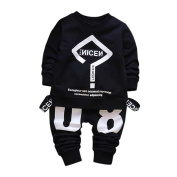 Exteren Toddler Baby Kid Boy Girl Warm Letter Printing T-shirt Tops+Pants Outfits Clothes Set