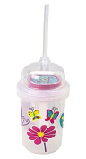 nuSpin Kids 240ml Sip & Spin Straw Cup + Bonus Zoomi Straw, Butterflies Fly Around When You Drink