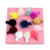 Miaoo 12PCS Chiffon Flowers Rhinestones Pearls Baby Hair Bows Clips for Girls Babies Toddlers