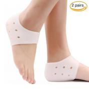 NYKKOLA 2 Pair Silicone Gel Heel Protector Sock for Cracked Foot Care Plantar Fasciitis Pain Relief Sleeve Gel Heels Pads Ankle Support Socks