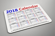 2018 CALENDAR ON A FOAM/FABRIC MOUSEMAT/PAD - IDEAL FOR OFFICE OR HOME - GIFT IDEA
