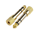 Devinal Professional 6.35mm 1/4 inch Plug to 3.5mm 1/8 inch Jack Gold Plated TRS AUX Stereo Audio Headphone Jack Adapter Converter Connector
