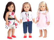 Dressy Play Set - 6 piece - 3 full mix and match outfits - jeans capris, blouse, skirt, cardigan, nightgown and red shoes