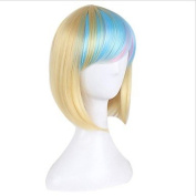 MZP Synthetic Wig for Cosplay Short Straight Bobo Ombre Red/Yellow/Pink/Green Costume Wig Cosplay Wigs , green