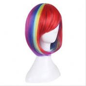 MZP Synthetic Wig for Cosplay Short Straight Bobo Ombre Red/Yellow/Pink/Green Costume Wig Cosplay Wigs , red