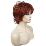 MZP New Short Layered Shaggy Copper Red Full Synthetic Wigs Women's Wig , red