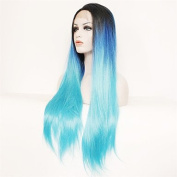 MZP Women Synthetic Wigs Lace Front Long Natural Wave Light Blue Middle Part Bob Natural Wig Costume Wig , light blue