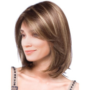 MagiDeal 36cm Women Bob Short Mixed Colour Straight Synthetic Hair Wigs with Cap Medium Brown