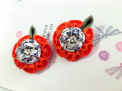 Tsumami Kanzashi Fabric Flower Hair clip set of 2. Japanese hair flower. Geisha's hair piece. Sakura Kanzashi Flower. Japanese Kanzashi