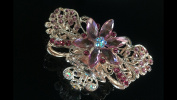 Hair Faux Rhinestone Inlaid Butterfly Shape Claw Clamps Jaw Clip Barrette Pink