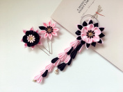 Kanzashi flowers. Set of 3 hair pieces. Pink and black. Kanzashi Hair pins and hair clip. Japanese Geisha hair ornaments