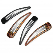 4 x Large Black & Tortoiseshell Hair Clips/ Sleepie Clips/ Bendies - 10 cm