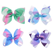 CHUANGLI Large Grosgrain Ribbon Boutique Rainbow Hairpin Bows Clips for Girls 4PCS Mix-colour
