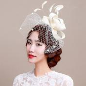 Women/Girls Fascinator Headbands Feather Hairpin Mesh Looped Net Yarn Hair Ornaments Veil Headdress Hair Accessories for Wedding Performance Party