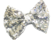 La Peach Fashions Brand New Beautiful Shiny Sequin Fabric Bow On Forked Clip Lovely Colours Hair Bow Clip Hair Slide Bows Size 12 cm.
