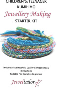 Jeweltailor NEW! Children's/Teenager Kumihimo Starter Kit With Beadsmith Braiding Disc, Quality Mixed Cord, Fully Illustrated Guide & Bonus Sparkly Metallic Thread ~ A Perfect Activity or Gift