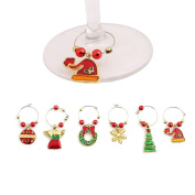 Gluckliy Set of 6 Christmas Series Wine Glass Charms Marker Tags Bar Table Party Christmas Decoration