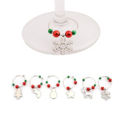 Gluckliy 6 Pcs Christmas Series Wine Glass Charms Marker Tags Set Bar Table Party Christmas Decoration