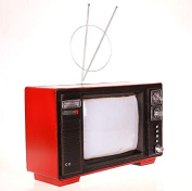 LD & P Chinese-style iron retro black and white old-fashioned TV creative model Decoration semi-manual semi-mechanical collection of home crafts bar decorations,red,38*25*24CM