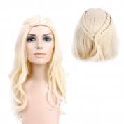 STfantasy Halloween Anime Wig for Dragon Mother Queen Cosplay Long Curly Layer Braid Party Hair 70cm w/ Cap