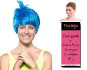 Joy Inside Out Colour Blue - Enigma Wigs Women's Joyous Emotion Happy Disney Pixar Bundle with Wig Cap, MaxWigs Costume Wig Care Guide