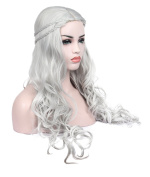 Kalyss Heat Resistant Synthetic Hair Wig Long Wavy Curly Sliver Grey Cosplay Costume Wigs for Game of Thrones Daenerys Targaryen khalees Halloween Hair wig 60cm