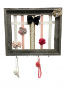 Headband Holder and Storage for Baby Girls - Hair Bow Holder and Organiser - Shabby Chic Design