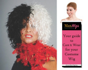 Cruella De Vil Villain Colour Black / White - Enigma Wigs Women's Cartoon Dalmations Shaggy Wavy Bundle with Wig Cap, MaxWigs Costume Wig Care Guide