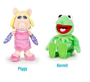 The Muppets - Pack 2 plush toy Quality super soft - Kermit the frog 22cm + Miss Piggy 20cm