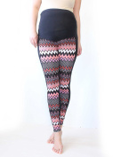 Maternity Zigzag Leggings Over bump, Pink,Black,White, No See Through Maternity Leggings, Chevron Print