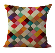 ChezMax Linen Blend Abstract Colourful Geometry Pattern Sofa Seat Cushion Cotton Square Decorative Throw Pillow Cushion 46cm X 46cm