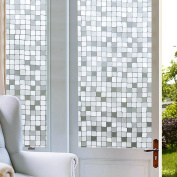 Window Film Static Privacy Cling Squares No-Adhesive Decorative Stained Glass Mosaic Window Film Privacy for Home and Kitchen Glass