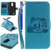 FESELE LG K10 2017 Case,Cute Panda Head Pattern Wallet Case cover for LG K10 2017,PU Leather Case Book Style Magnetic Closure PU Leather Wallet Flip Cover Case Card Slot and Banknotes Pocket with Hand Strap For [ LG K10 2017 ] + 1 x Blue Stylus Pen - P ..