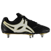 Gilbert Sidestep XV Rugby Boots Juniors Black/White/Gold Studded Boots Cleats